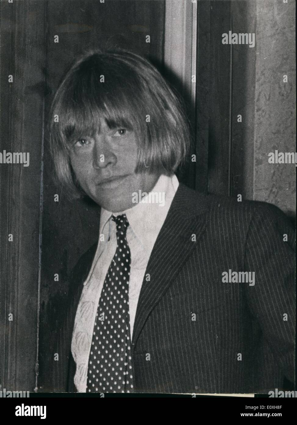 Dec. 00, 1967 - Rolling Stone Brian Jones jailed for nine months: Rolling Stones guitarist Braian Jones, 25, was jailed for total of nie months this afternoon after admitting two drug charges. He was also ordered to pay £265.10s costs. For permitting his flat to be used for smoking cannabis, Jones was jailed for nine months, with three months concurrent for possessing cannabis. Jones counsel, Mr. James ''Illegible'' QC, asked for bail pending an appeal against sentence, but this was rejected by the chairman, Mr  Seaton - Stock Image