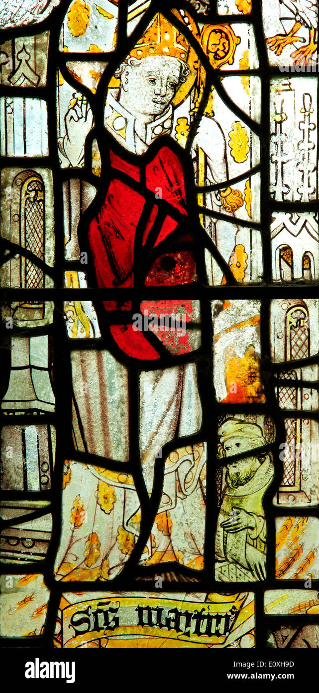 St. Martin, Bishop of Tours, medieval stained glass window, North Tuddenham, Norfolk saint saints - Stock Image