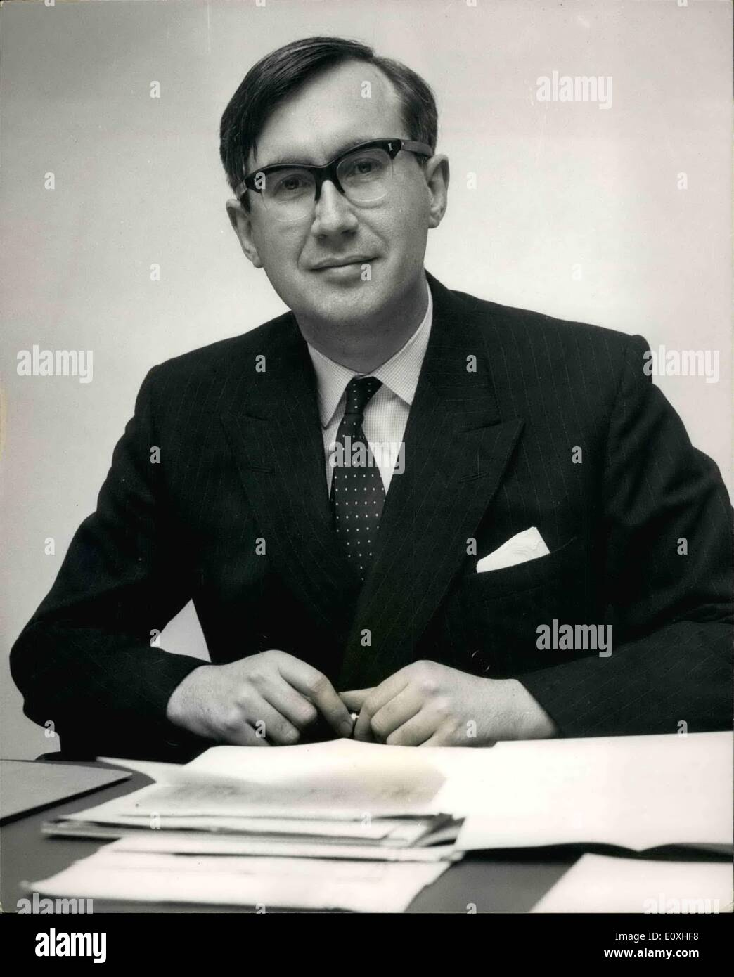 Jan. 01, 1967 - NEW EDITOR OF THE TIMES. Mr. William Rees-Mogg, 38 year old deputy editor of the Sunday Times, was yesterday appointed editor of The Times. The new appointment was announced yesterday by Times Newspapers Ltd., who now own The Times and The Sunday Times. Keystone Photo Shows:- Mr. William Rees-Mogg pictured today in the editor's office at The Times today. - Stock Image