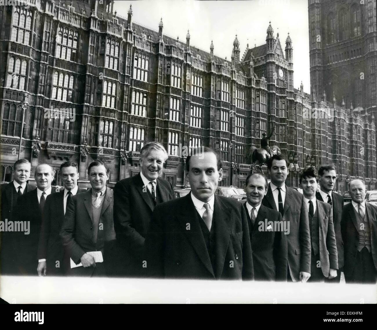 Jan. 01, 1967 - Presenting 91.66 per cent (including the new leader) of the Parliamentary Liberal Party.: Mr. Jo Grimond this week resigned as leader of the Liberal Party and Mr. Jeremy Thorpe was elected to succeed him. yesterday, the Parliamentary Liberal party appeared outside the Palace of Westminster in their revised formation. In fact, this picture shows only 91.66 per cent. of the Liberal Party in the Commons. there are 12 of them there now; but their twelfth man (or residual 8.34 percent), Mr. Russell Johnston, was away at his Inverness (Scotland) constituency. Photo shows the 91 - Stock Image