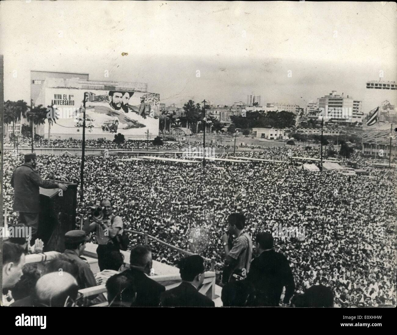 Jan. 01, 1967 - EIGHTH ANNIVERSARY OF CURAN REVOLUTION To commemorate the eighth anniversary of the Cuban Revolutions the traditional military parade was held in Havana,e Revolution Square. The final addreee was. delivered by Prime Minister, Major Fidel Oaetro. ''' PHOTO SHOWS: Major Fidel Oaetro seen during his final address in Revolution Sqmpre, Havana - Stock Image