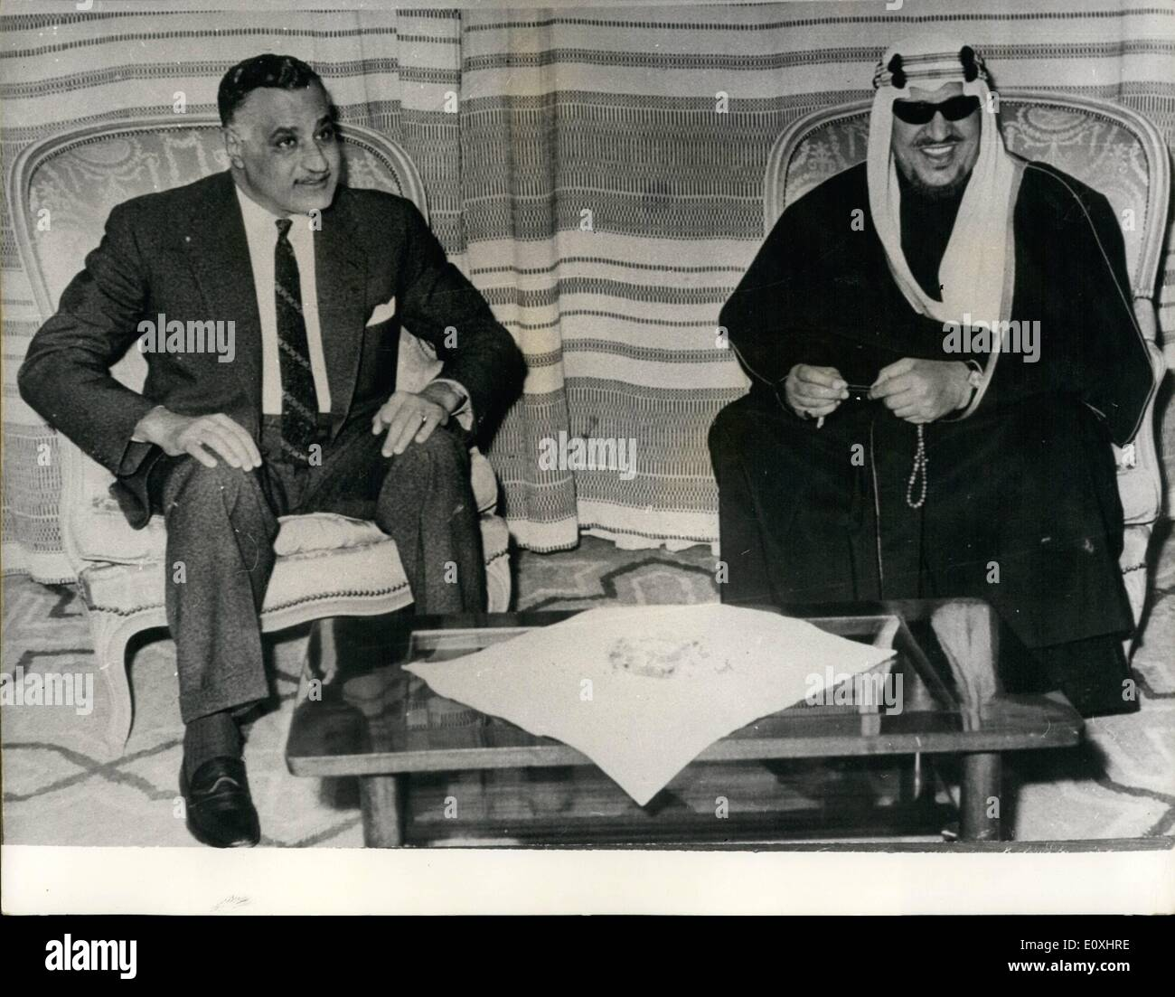 Jan. 01, 1967 - Nasser Visits Ex-King Saud: President Gamal Abdel Nasser, recently returned the visit of former - Stock Image
