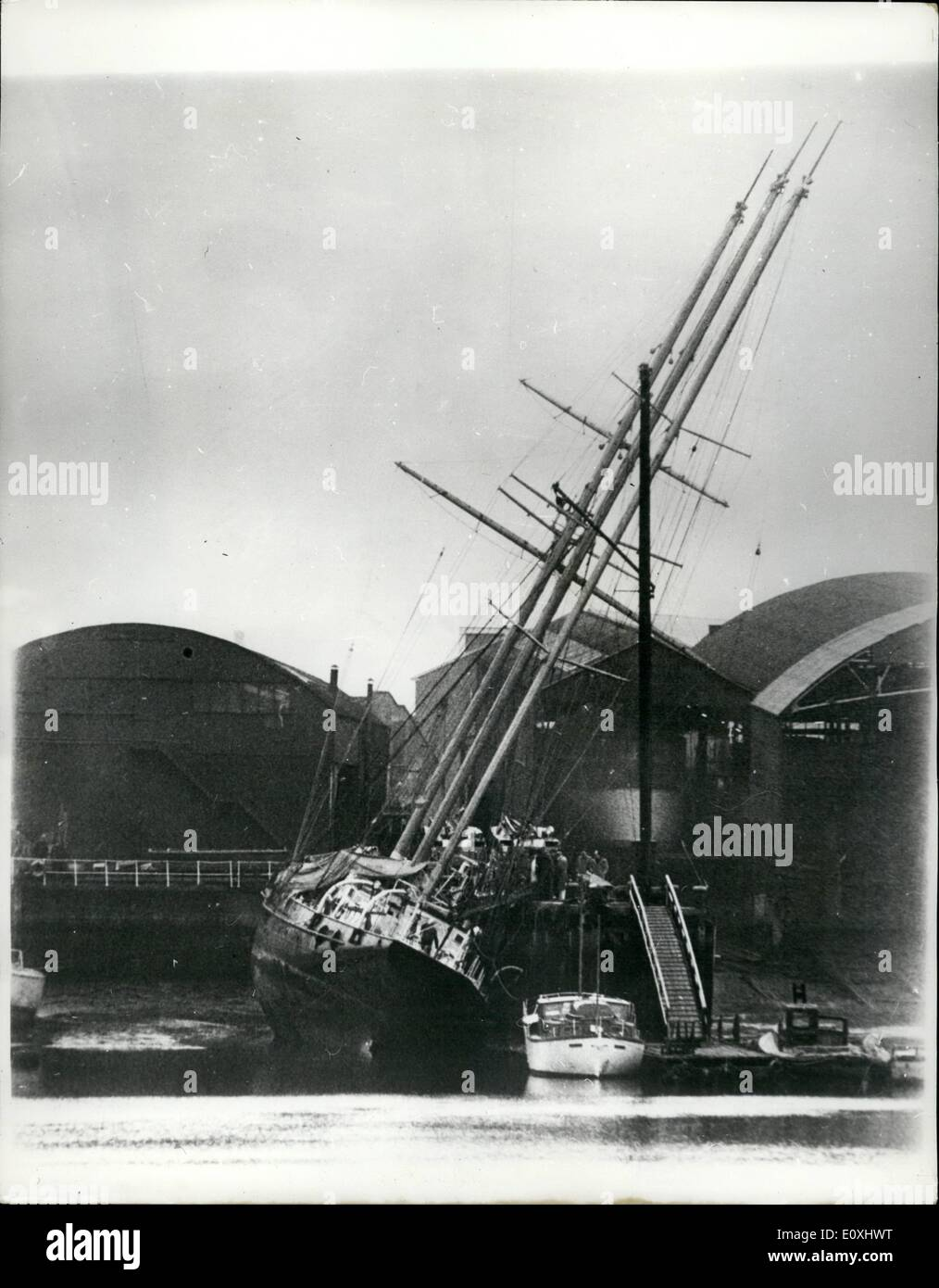 Jan. 01, 1967 - The Schooner ''Sir Winston Churchill'' is flooded; The sail training school ''Sir WInston Churchill'',Stock Photo