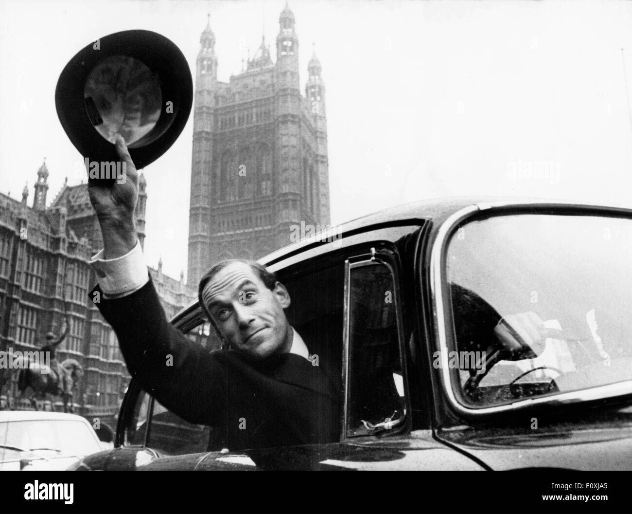 Jeremy Thorpe leaving the House of Commons after his electionStock Photo