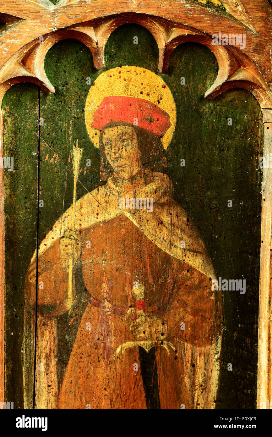 St. Sebastian, English medieval rood screen painting, c.1500, holding sword and arrow, North Tuddenham, Norfolk paintings saints - Stock Image