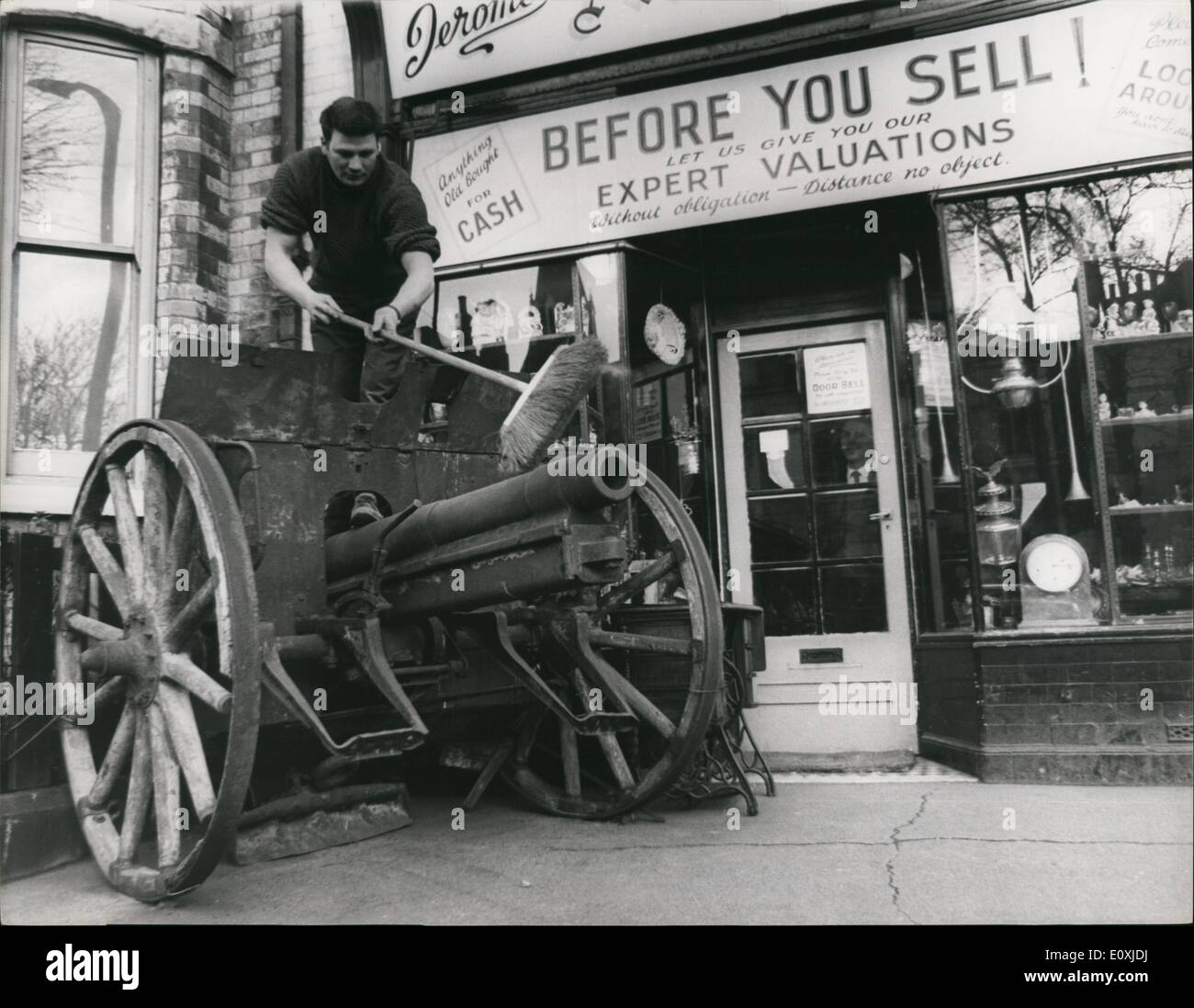Feb. 02, 1967 - Antique German Field Gun for Sale : Standing on the forscourt outside the shop of antique dealer, Jerome Titus Walah, in Hull, is an 80mm. German field gun, a relio of the first World War. Until last summer, the gun reposed in the garden of an elderly ex-colonel who brought the gun back in 1918 as a souvenir. When he died, his widow sold the gun to Mr.Walsh. Not with standing the gun's condition - Mr.Walsh reckons it has had no maintenance in 50 years and would need a complete overhaul before anyone could fire it - the gun like it in Britian - in a London war museum - Stock Image