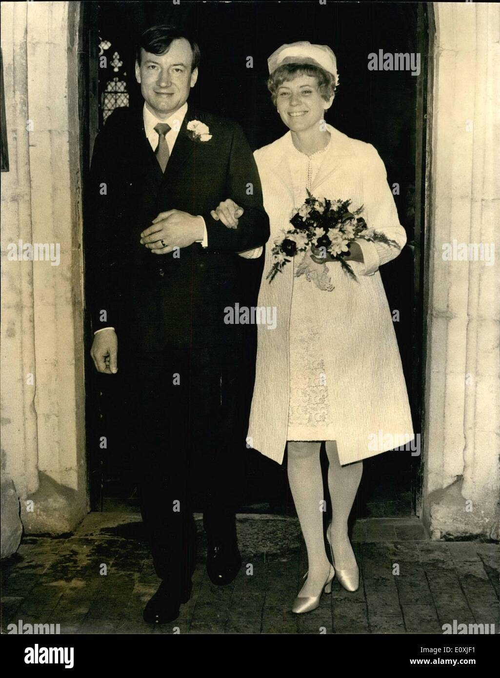 Feb. 02, 1967 - Ex-Priest Weds: Mr Charles Davis, 43, the former Roman Catholic Priest who was professor of Theology at Heythrop College Oxford-but has now been elected to a visiting fellowship at Clare College, Cambridge - was married this afternoon to Miss Florence Henderson, 36, a former Roman Catholic, and who is American, at all Saints Haslingfield, near Cambridge, the village's the village's Anglican Parish Church. Mr. Davis renounced his priesthood and left the church just before he was to go to Rome to take part in unity talks between the Anglican and Roman Catholic Churches - Stock Image