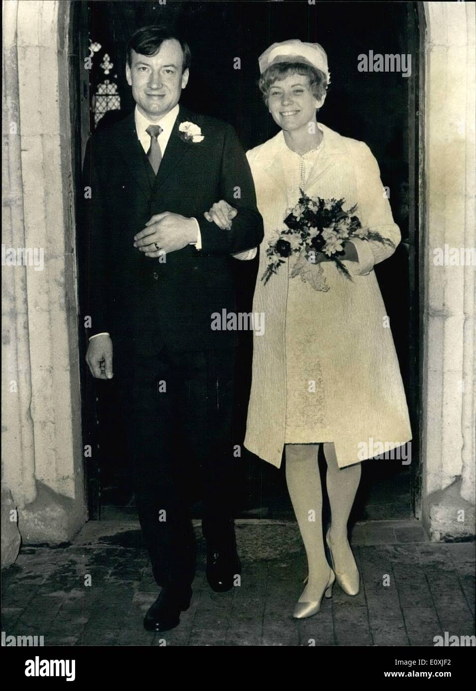 Feb. 02, 1967 - Ex-priest weds: Mr. Charles Davis, 43, the former Roman Catholic Priest who professor to Theology at Heythrop College Oxford - but has now been elected to a Visiting Fellowship at Clare College, Cambridge was married this afternnon to Miss Florence Henderson, 36, a former Roman Catholic and who is American, at All Saints haslingfield, near Cambridge, the Village's Anglican Parish Church. Mr. Davis renounced his priesthood and left the church just before he was to go to Rome to take part in unity talks between the Anglican and Roman Catholic Churches - Stock Image