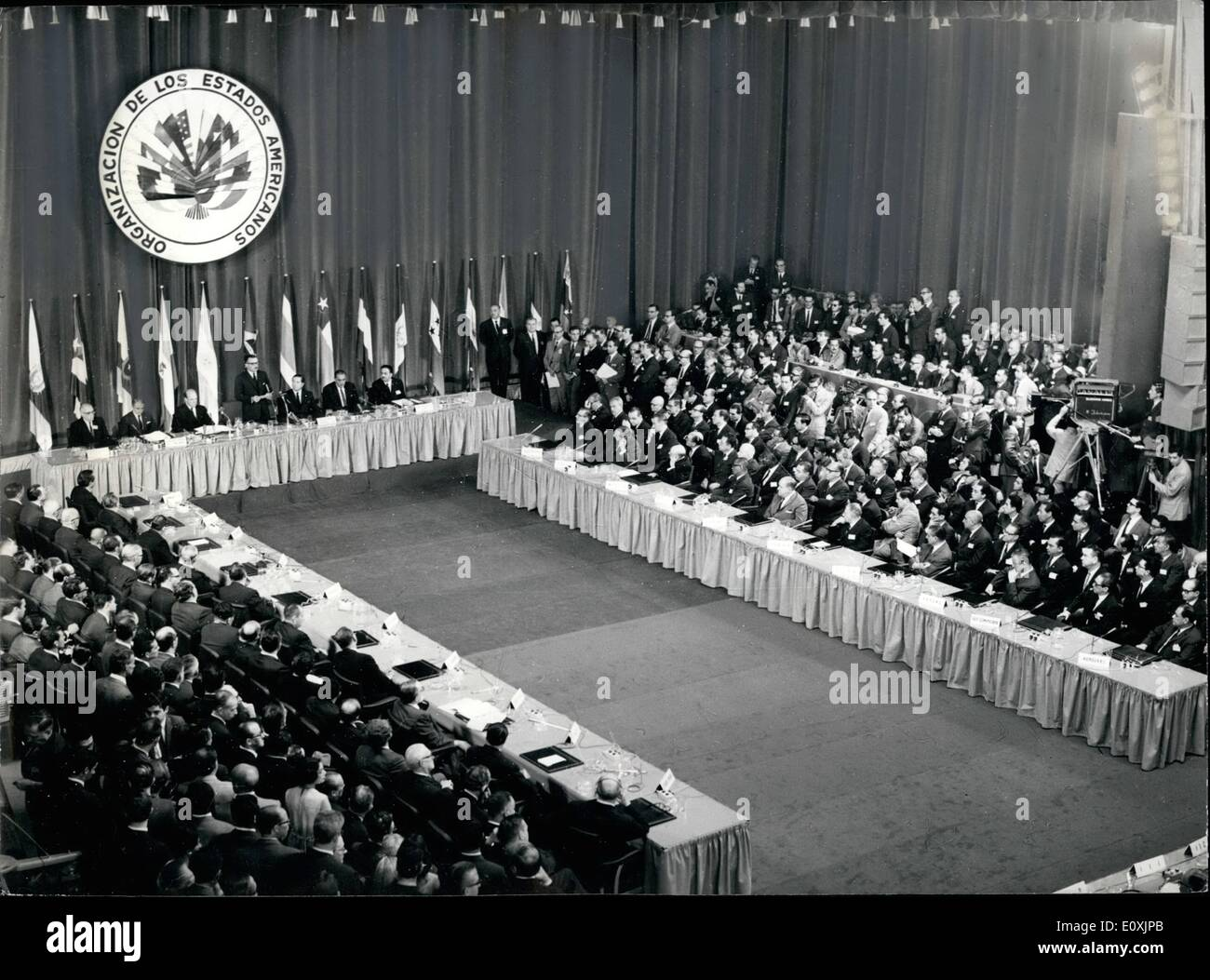 Feb. 02, 1967 - The Chancelours Of All The American Countries Had Their Annual Meeting At Buenos Aires: Buenos Aires, February 16th: Today was solemny inangurated the Third Interamerican ference by Argentinas President General   Ongania at Teatro San Martin and with participation of the Foreign Ministers of all american republics (less Cuba). One of it's main poits will be the reformation of the Charter of the OEA (Organizacion de Estados Americahos) and the preparation of the meeting of the President of the american states, in a next future, as well as it's future policy - Stock Image
