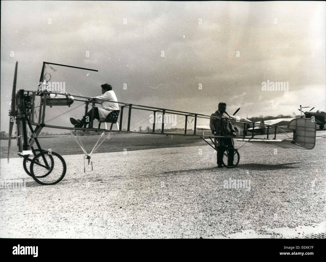 Mar. 03, 1967 - An Aircraft built by flying Pioneer Bleriot in 1909 will soon fly again: An aircraft built by Louis Bleriot in 1909 will soon fly again. It is own of the only two such machines known to be in existence. Bleriot built the aircraft, a single engined monoplnae, following his successful flight across the English Channel in 1909. It is being overhauled by the staff at the Shuttleworth Collection (of old aircraft, cars, by bicycles)at Old Warden Aerodrme, near Biggleswade, Bedfordshire. The present owner, London businessman, Mr - Stock Image