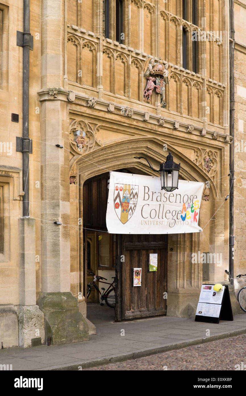 Views of the historic university city of Oxford Oxfordshire England UK Oxford University Brasenose College entrance - Stock Image
