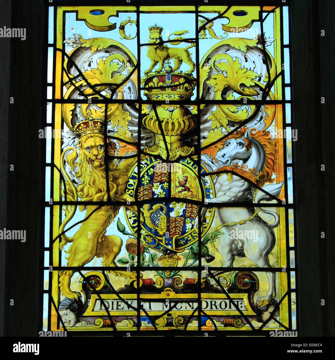 Stained glass window, Royal Arms, King Charles 2nd, late 17th century, Banningham, Norfolk - Stock Image