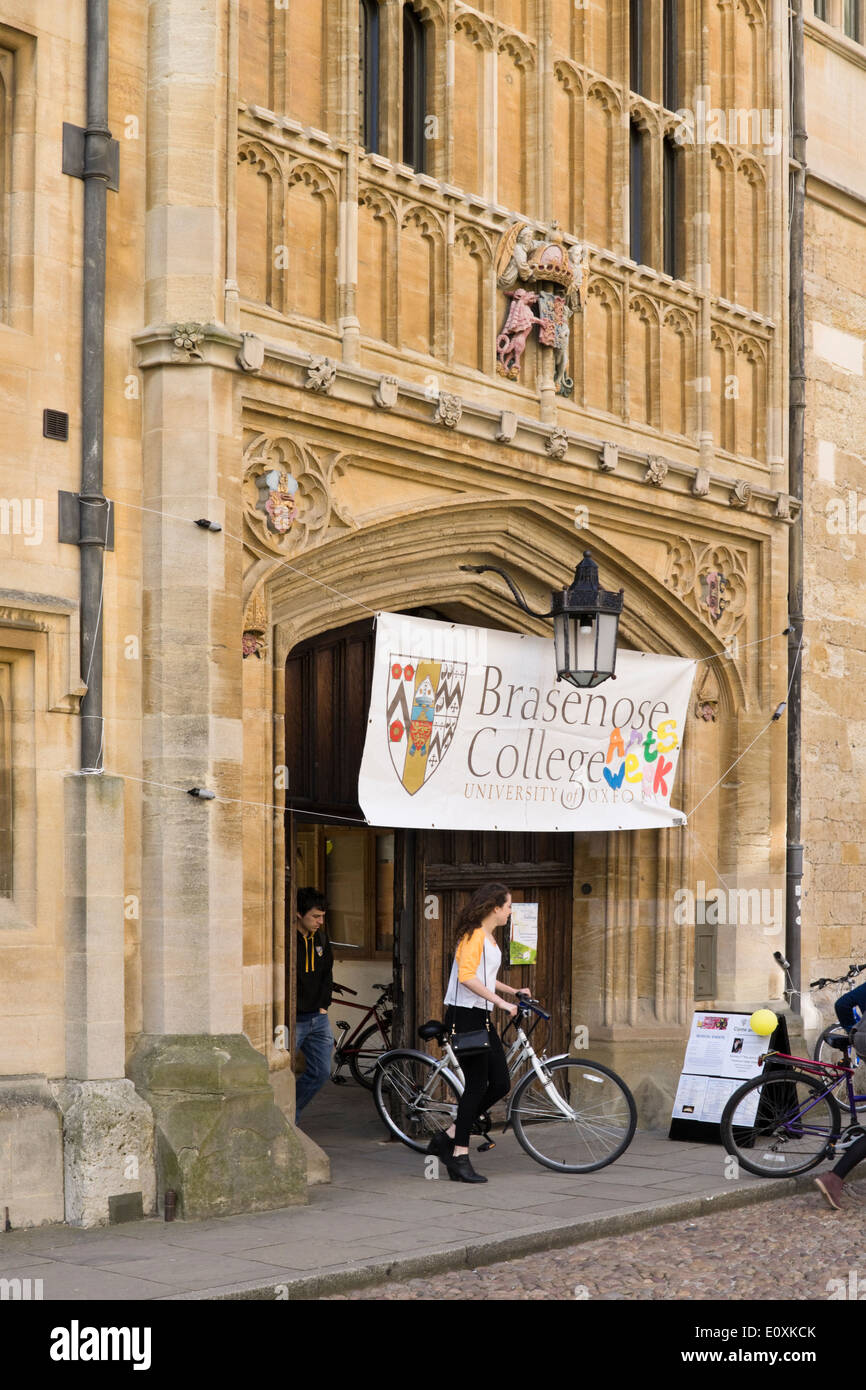 Views of the historic university city of Oxford Oxfordshire England UK Brasenose College entrance - Stock Image