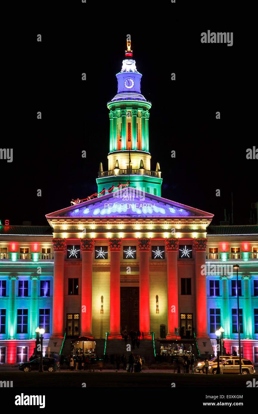 Christmas In Denver Colorado.Denver City And County Building Decorated With Christmas