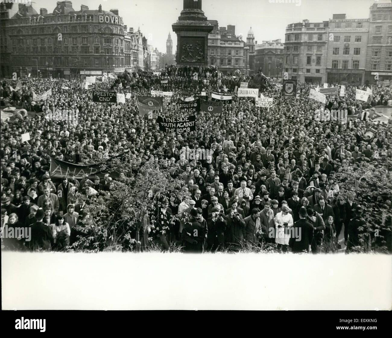 Mar. 03, 1967 - The Campaign for Nuclear Disarmament Two Day Easter March Ends With Rally in Trafalgar Square. The campaign for - Stock Image
