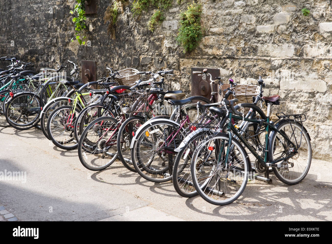 Views of the historic university city of Oxford Oxfordshire England UK  Bicycles on Brasenose Lane - Stock Image