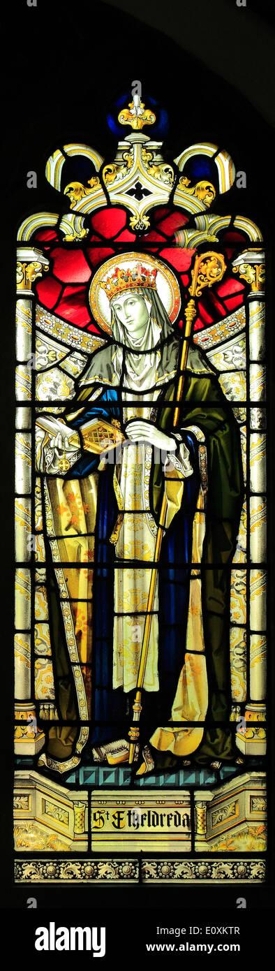 Stained glass, St. Etheldreda, late 19th century window by Heaton, Butler & Bayne, West Newton, Norfolk England UK - Stock Image