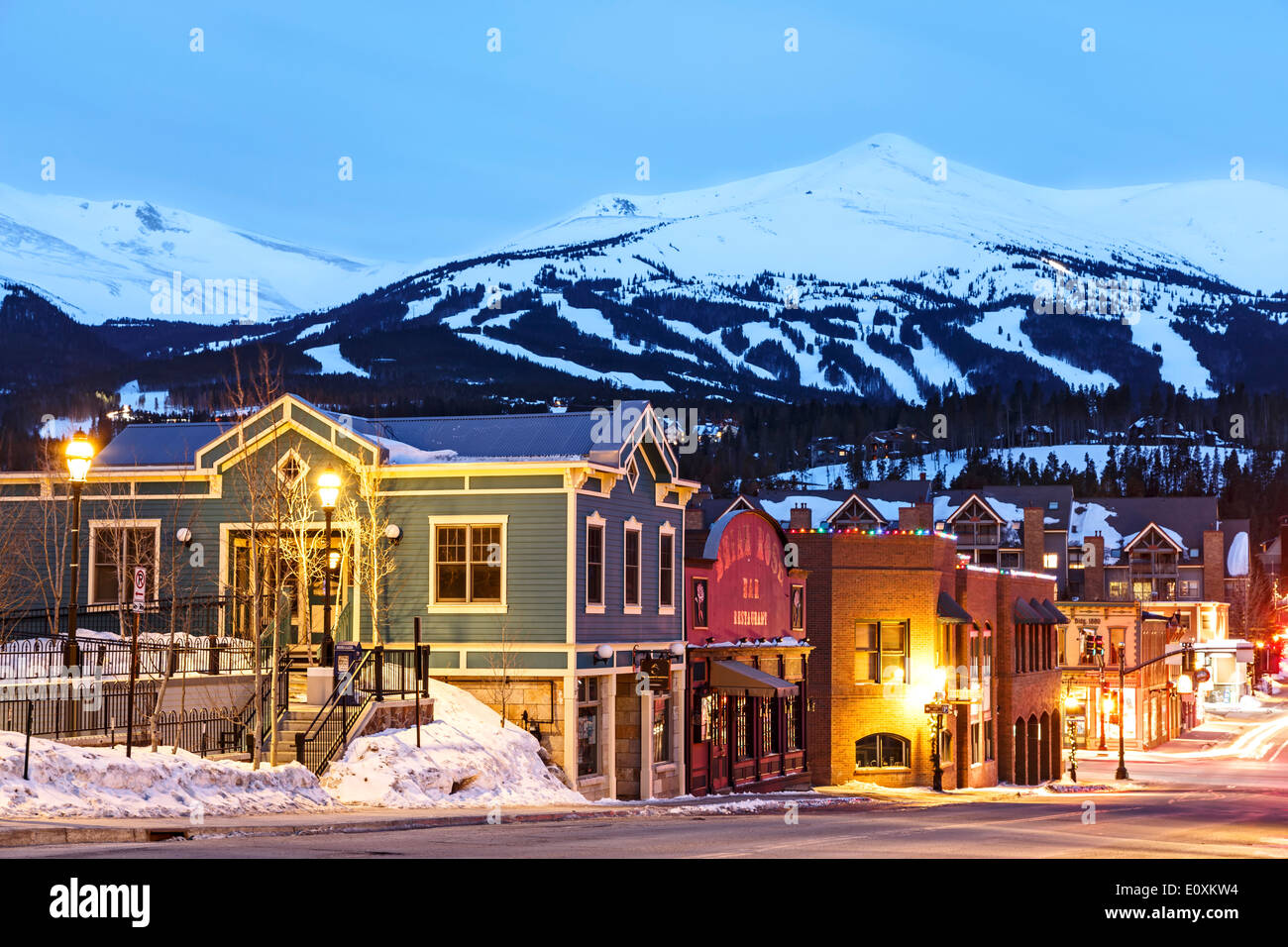 Snow-covered Peak 8, ski area and Downtown Breckenridge, Colorado USA - Stock Image