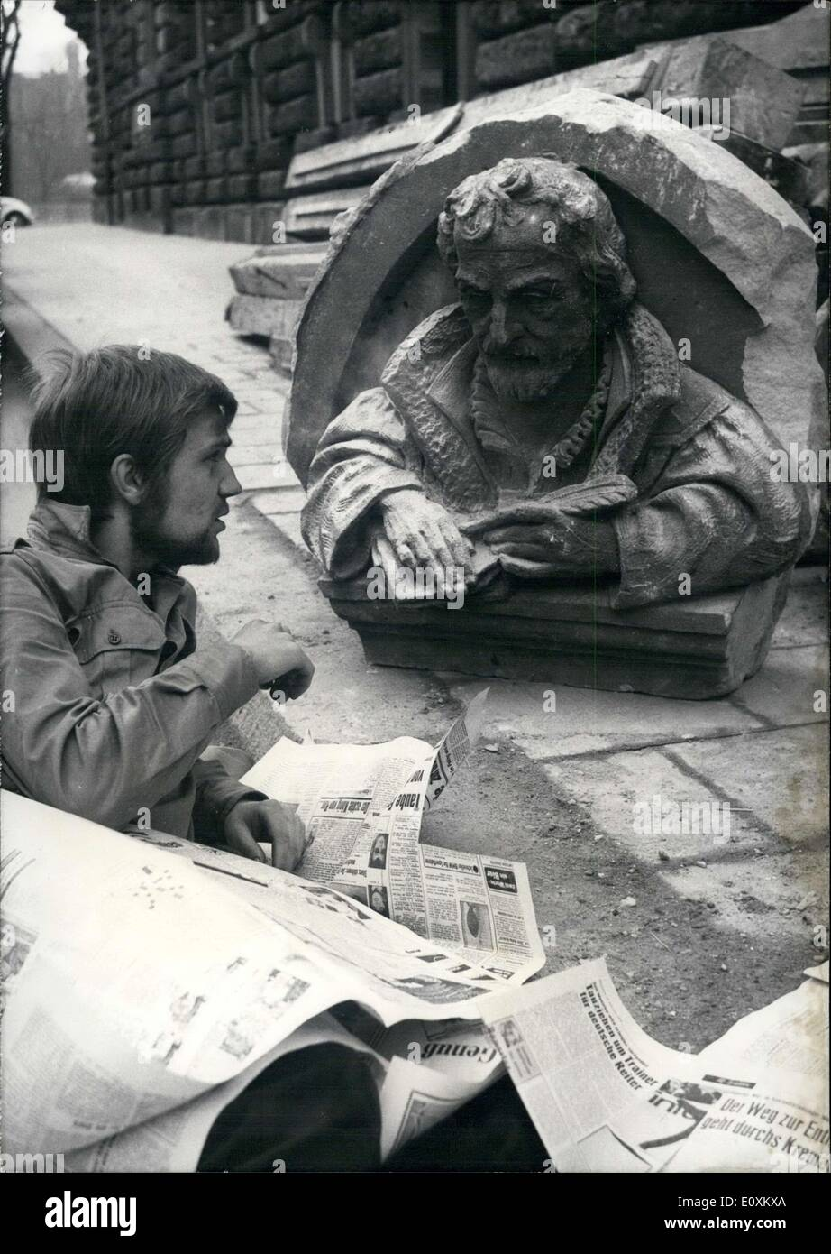 Mar. 15, 1967 - Bust Justus Jonas Removed Church Munchner Before Demolished - Stock Image