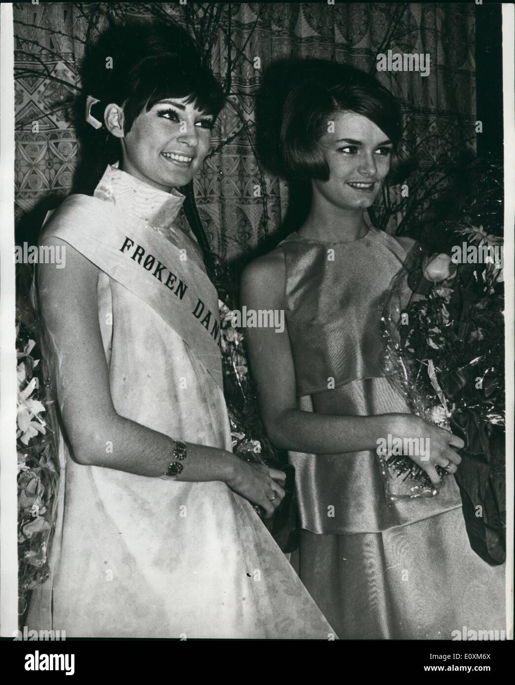 Apr. 04, 1967 - Miss Denmark 1967: 20-year old mannaquin, Gitte Rhein-Knudsen was last week elected as Miss Denmark from among hundreds of candidates. Gitte, has just finished her education at the mannequin school in Copehagen and is working as a freelance mannequin and photographic model. She goes to Nice next month where fom 25 May to 3 june, she will one of the contestants for the miss Nuro e title, and later on she will participate in the Miss Universe contest and the Miss Scandinavia contest - Stock Image