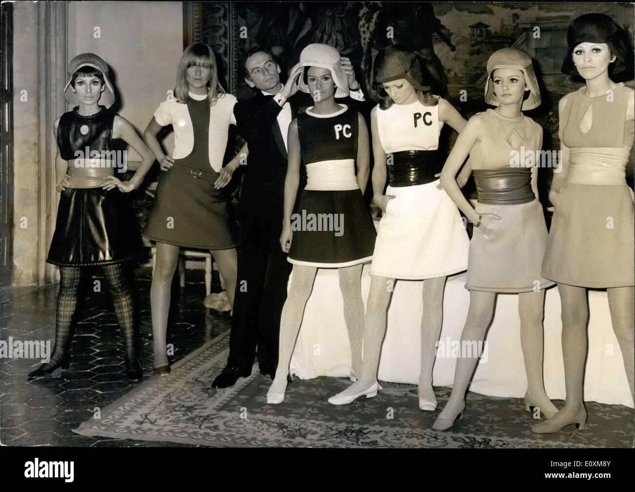 Apr. 04, 1967 - Pierre Cardin in Rome: Fashion show at French Embassy. Pierre Cardin the famous French couturier presented his collection ''Spring 67'' at Palazzo Farnese, seat of the French embassy in Rome. Photo shows Pierre Cardin pictured with his models. - Stock Image