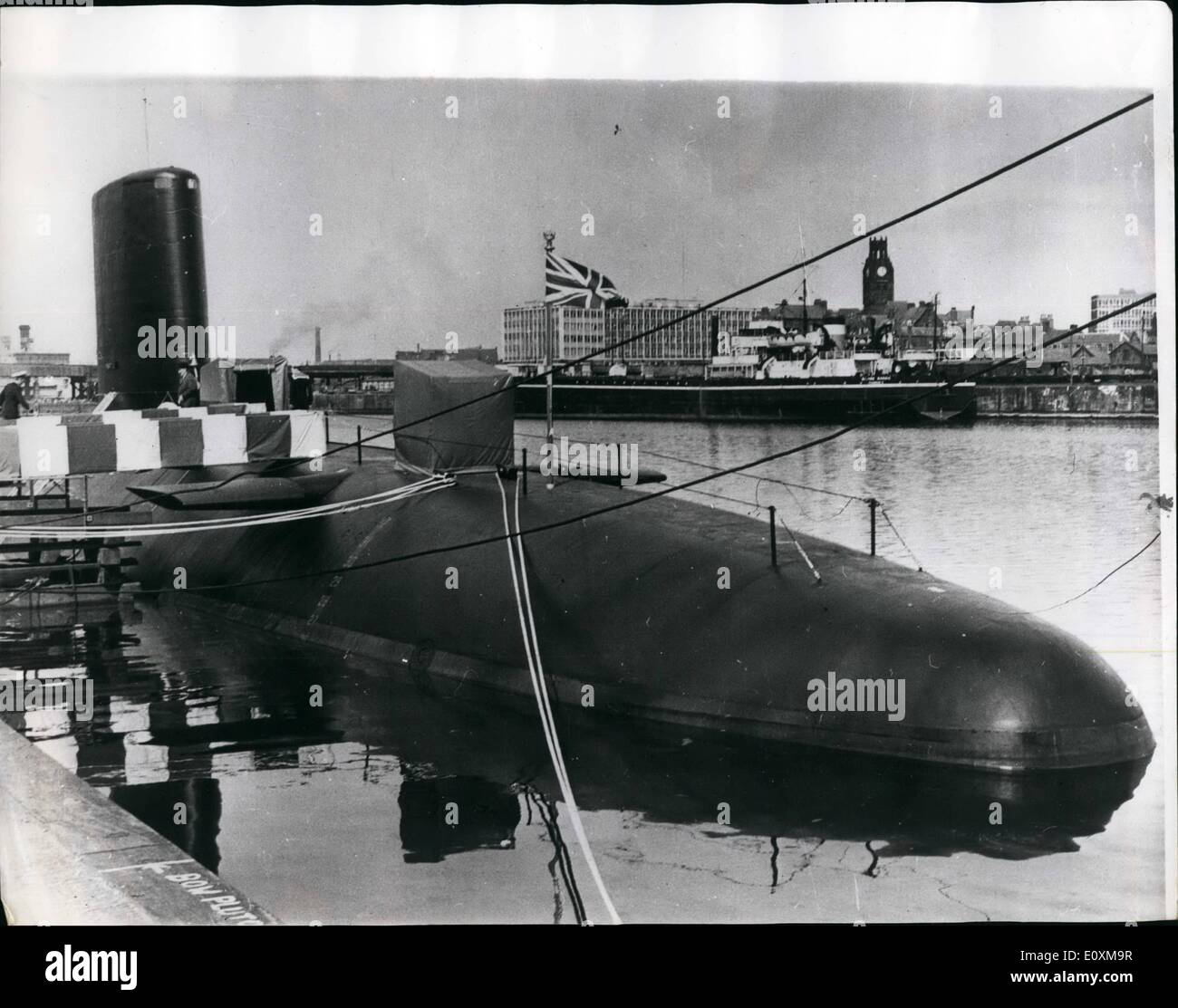 Apr. 04, 1967 - Third British Nuclear Fleet Submarine ''Wars Pite'' Commissioned: Britain's third nuclear Fleet submarine H.M.S. Warspite, was commissioned for service with the Royal Navy at the Barrow-in-Furness Yard of Messrs. Vickers Limited (Shipbuilding Group), yesterday. The guest of honour at the ceremony was Mrs. Wilson, wife of the Prime Minister. Mrs. Wilson named the submarine a the launch in September 1965. The Warspite, which is of all-British construction, has a length of 285-feet - Stock Image