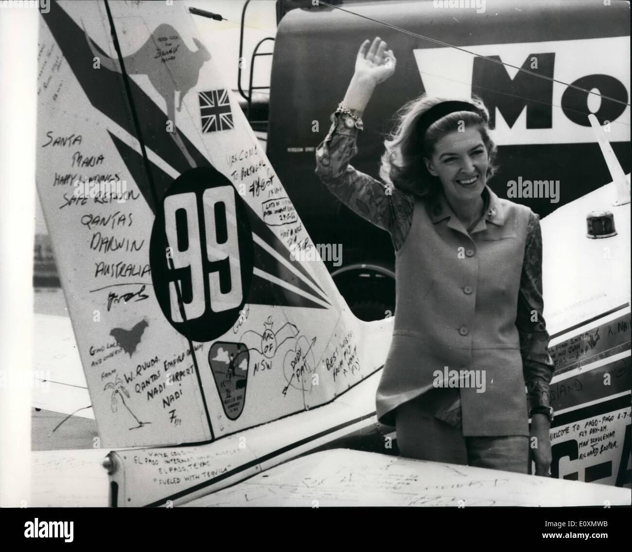 Jun. 06, 1967 - -Sheila Scotts Seats Out In Her Single-Engine Piper Comanche In Bid To Beat London To Cape Town Record: Sheila Scott, 39, who flow sole around the world last year, took off from Heathrow Airport yesterday on a 7,800-mile flight to South Africa in the single-engined piper Comanche. She is trying for the London-Cape town ladies' Solo Record-unbroken since Amy Johnson flew to South Africa in 78 hours 28 minutes in 1936. Miss Scott will fly 1,000 miles more than Amy Johnson because of overflying restrictions by Arab and African States. Photo shows - Stock Image
