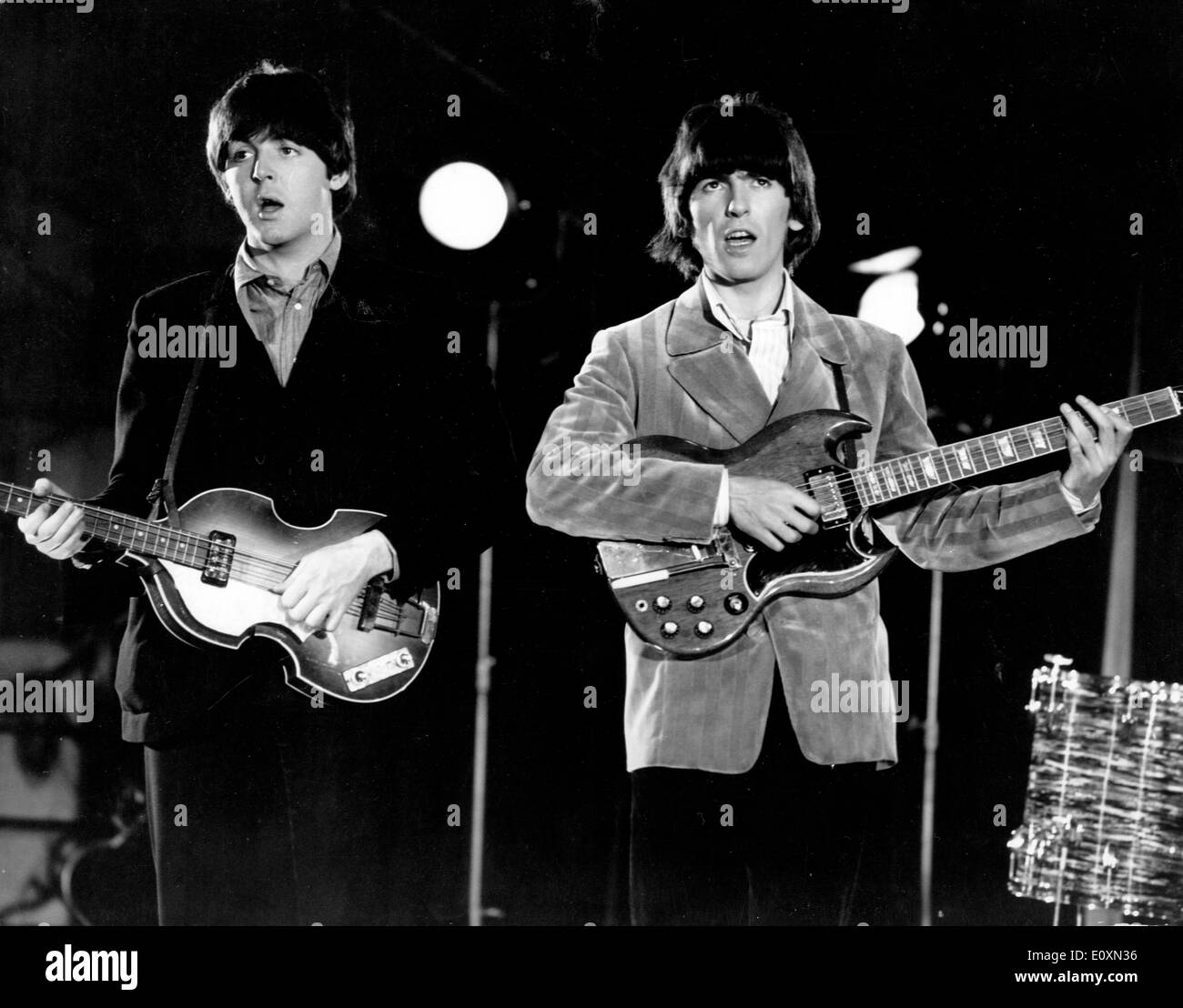 The Beatles Paul McCartney and George Harrison during the colour recording - Stock Image
