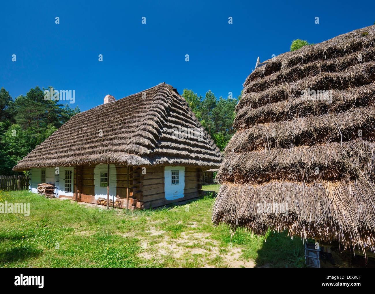 19th century cottages at Ethnographic Park at open-air Folk Culture Museum in Kolbuszowa, Malopolska, Poland - Stock Image