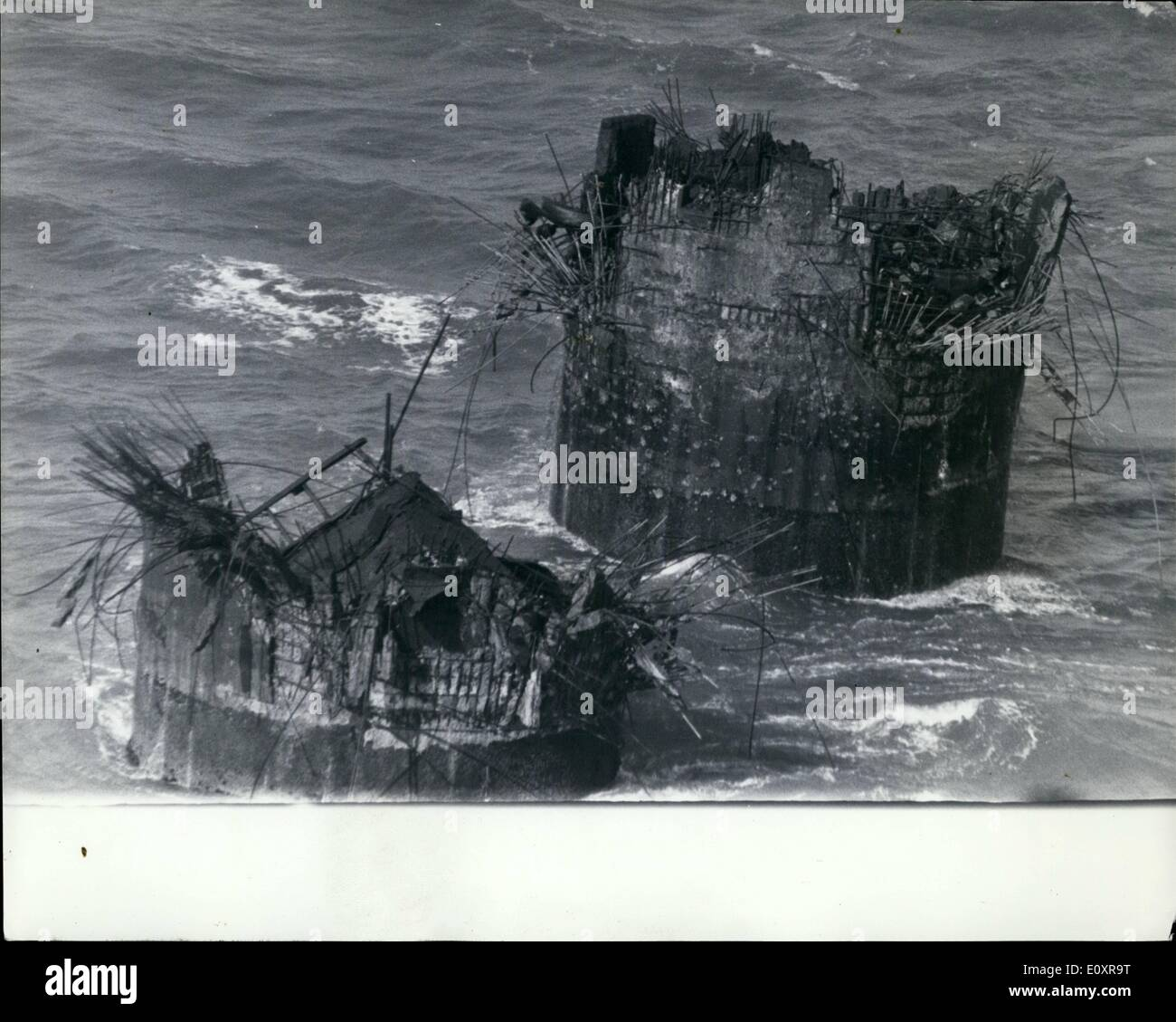 Aug. 08, 1967 - Sea Fort Blown Up: Sunk Head Towers, a former anti-aircraft gun fort 13 miles off Harwich, was blown up yesterday by Royal Engineers to prevent pirate radio stations using it. The tower was suitable for use as a stores supplied from Holland for Radio Caroline South, six miles away. In the opposite direction, eight miles north, is Rough Tower, occupied by Mr. Roy Bates, of Radio Essex. Mr. Bates has occupied Rough Tower for eight months despite seven attempts at boarding by rival organizations - Stock Image