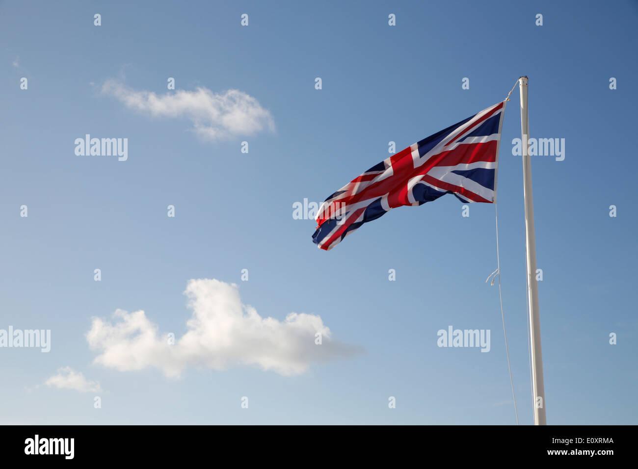 Union Jack Flag; Land's End; UK Stock Photo