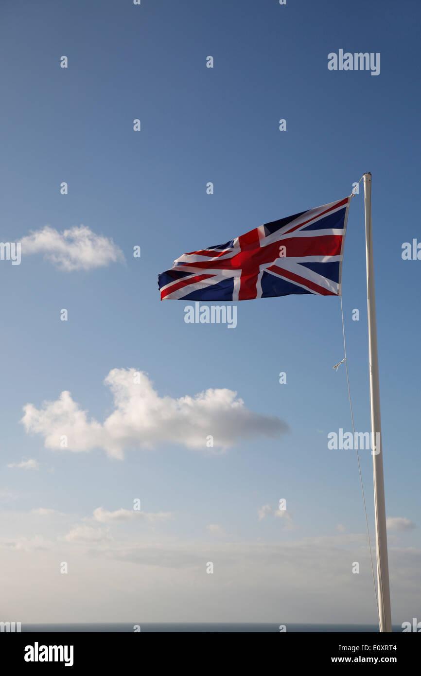 Union Jack Flag; Land's End; UK - Stock Image