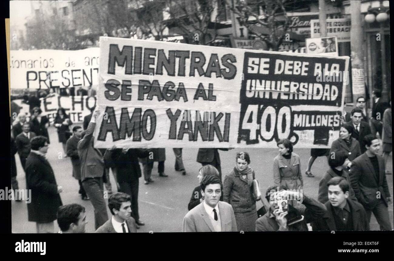 Nov. 11, 1967 - Uruguayan Students Demand A Larger Budget: A huge demonstration was organized by the Uruguayan students in demand of a larger budget and liberties for the University. ''Budget, yes; latifundism, no'' was shouted by all the students. Posters were shown, protesting that the government should no pay the loans of the United States bankers, when the government employees are not being paid promptly and they Ojagatto be the preferred creditors. - Stock Image