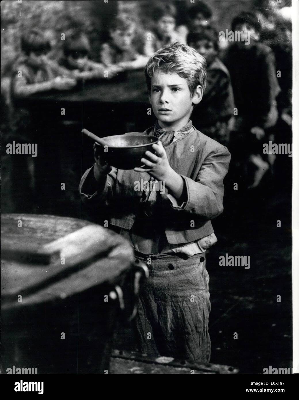 Nov. 11, 1967 - Nine Year Old Mark Lester is ''Oliver'' The name of the boy who is starring in the 2 1/2 million film production of Lionel Bart's hit musical 'Oliver' has been revealed. He is nine year old Mark Lester, of East Sheen, Surrey. Producer John Woolf, of Romulus Films, picked Mark from over 2,000 schoolboys who applied for the part. He has been before the cameras at Shepperton since filming began in the summer, together with other boys who play the inmates of the orphanage in the story, adapted from the Dickens novel 'Oliver Twist' - Stock Image
