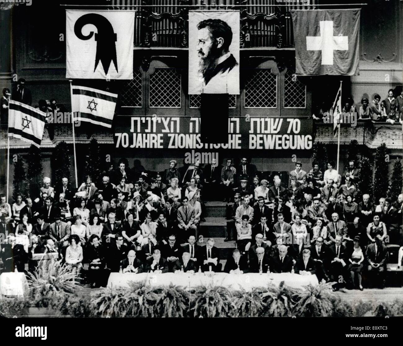 Sep. 09, 1967 - 70th Anniversary of first Worldwide Zionist Congress: Many prominent personalities from all over the world met at Basle, Switzerland, to celebrate the 70th. Anniversary of first worldwide Zionist Congress. The meeting was held in the same room as in 1897. Photo shows General view during the Zionist Congress in Basle, Switzerland. - Stock Image