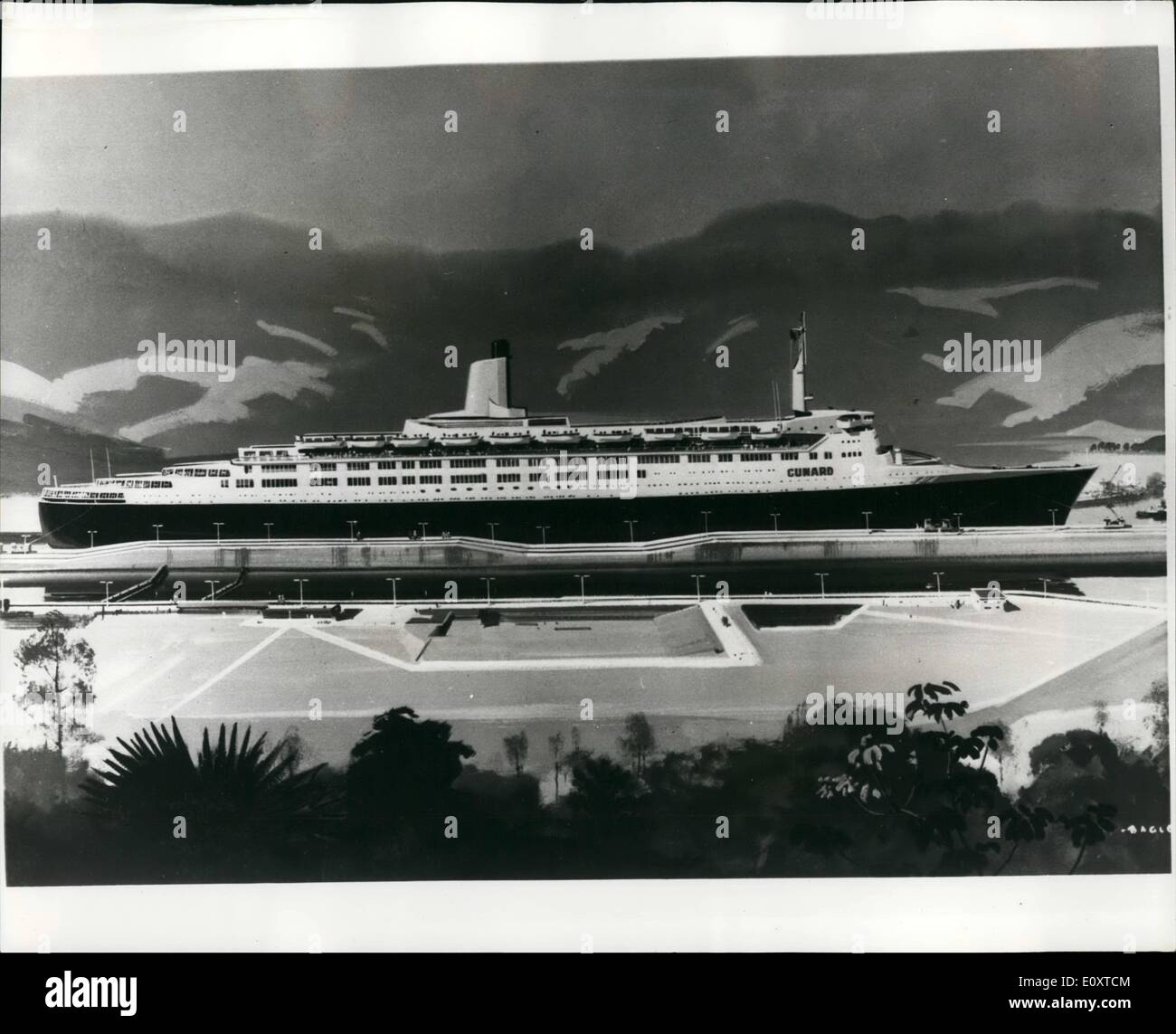 Sep. 09, 1967 - An artist's impression of the new Cunard liner Q-4: Artist Laurence Bagley capture the scene - Stock Image