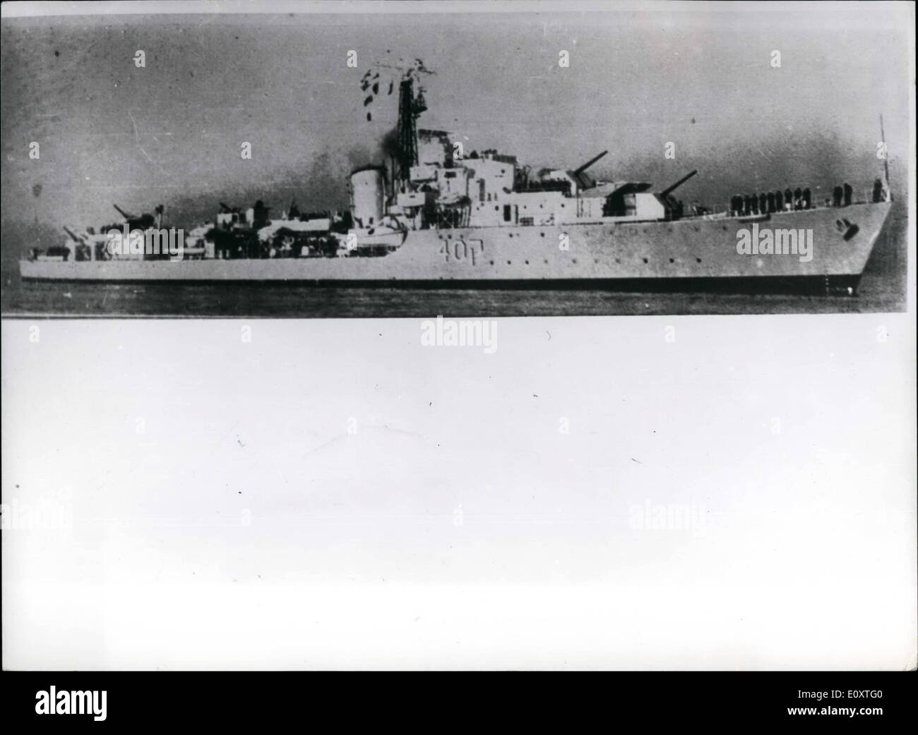 Nov. 11, 1967 - Israeli Destroyer Eilat Sunk. Photo Shows View of the Israeli destroyer Eilat which was recently sunk off port said by missiles from two Egyptian motor boats. - Stock Image