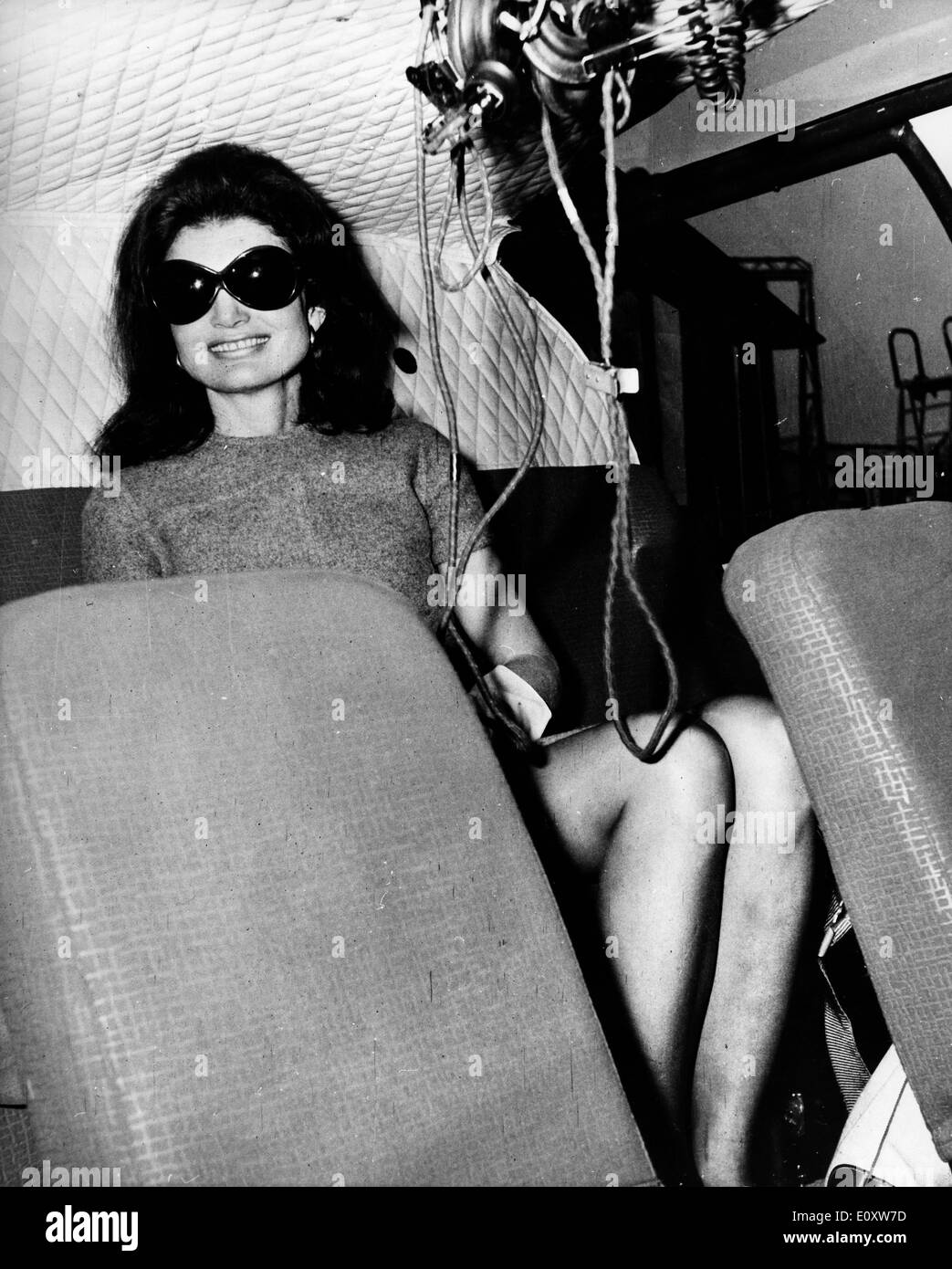 Jacqueline Kennedy Onassis sitting in a helicopter - Stock Image