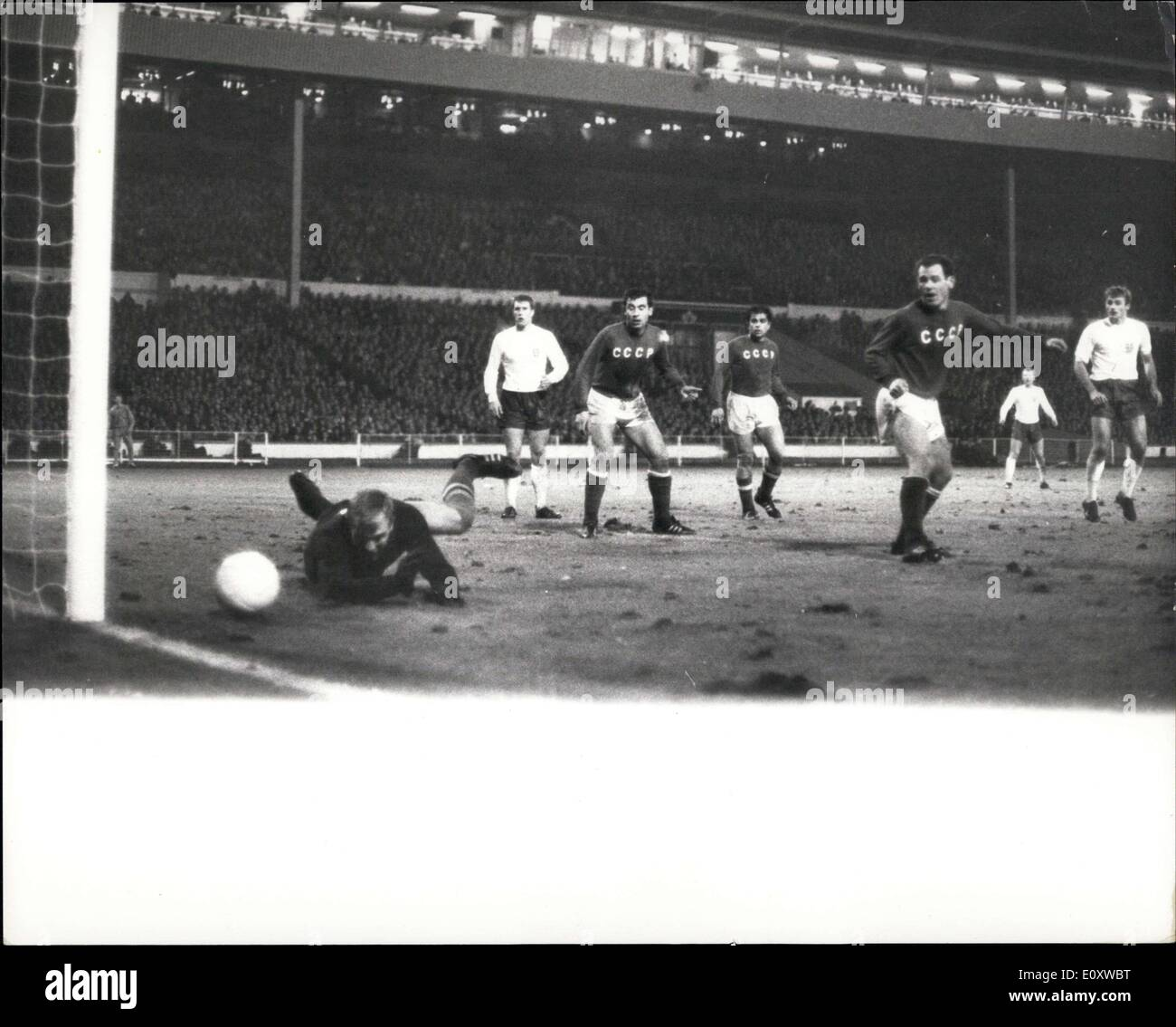 Dec. 07, 1967 - International Soccer at Wembley England Draw 2-3 with Russia: Photo Shows The Russian goalkeeper, Psenitchnikov, makes a fine save during last night's international football match between England and Russia, which ended in a 2-2 draw. - Stock Image