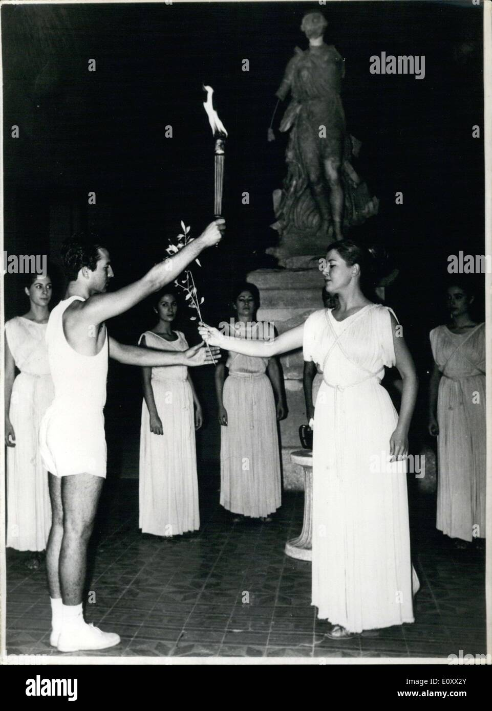 Dec. 20, 1967 - Priestess Taking the Olive Branch of the Olympic Games - Stock Image