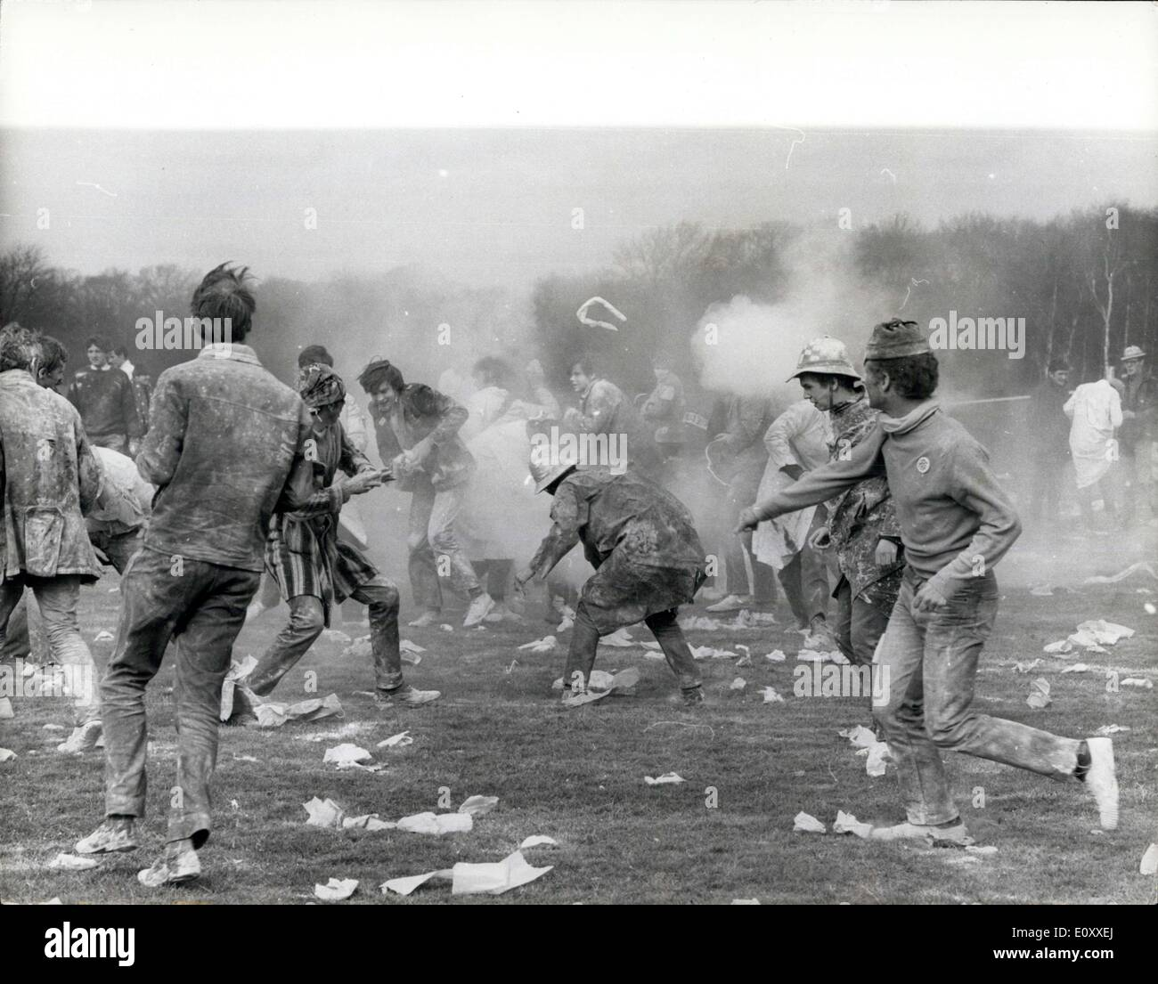 Mar. 14, 1968 - Flour fight by Students: Students all over the world are in tumult, demonstrating and rioting, but this is a friendly fight between doctor students of Guy's Hospital and London Hospital, prior to the start of the Hospital Rugby Cup Final. - Stock Image