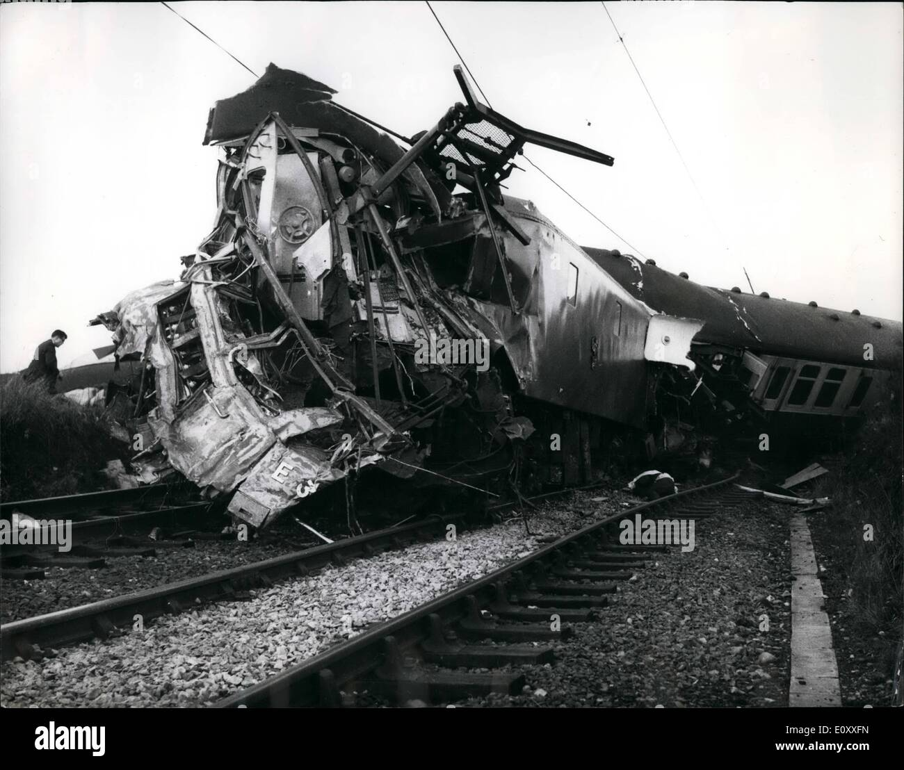 Jan. 01, 1968 - 11 Killed And 40 Injured In Rail Disaster At least 11 people were killed and 40 injured, when the 11.50 a.m. Manchester to Eastex electric express smashed into a heavy road transporter at 80 mph on a level crossing at Horton, Staffs. An official said that other bodies might still be in the wreckage. The transporter, propelled by tractor front and rear, weighed 60 tons and was loaded with a 125-ton transformer, making a total of 185 tons - Stock Image