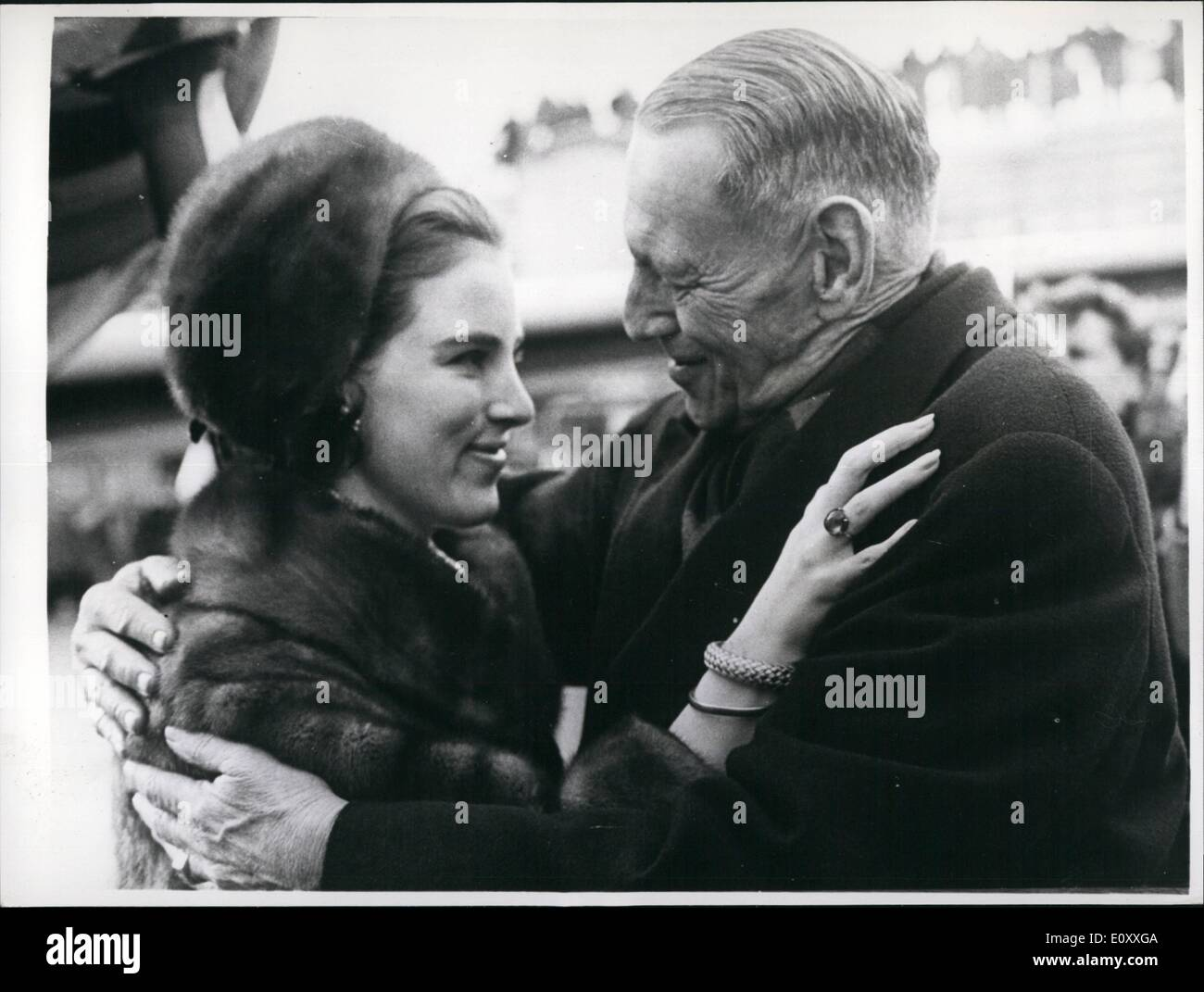 Jan. 01, 1968 - Exiled Queen Anne-Marie returns home to Denmark.: Exiled Queen Anne-Marie of Greece, returned to home to Denmark yesterday for the first time in 18 months. The 21-year old Queen arrived in Copenhagen from Rome to attend the wedding of her elder sister, Princess Benedikte on February 23rd. Photo shows King Frederik of Denmark welcomes dis daughter, Queen Anne Marie of Greece, at Copenhagen airport yesterday. - Stock Image