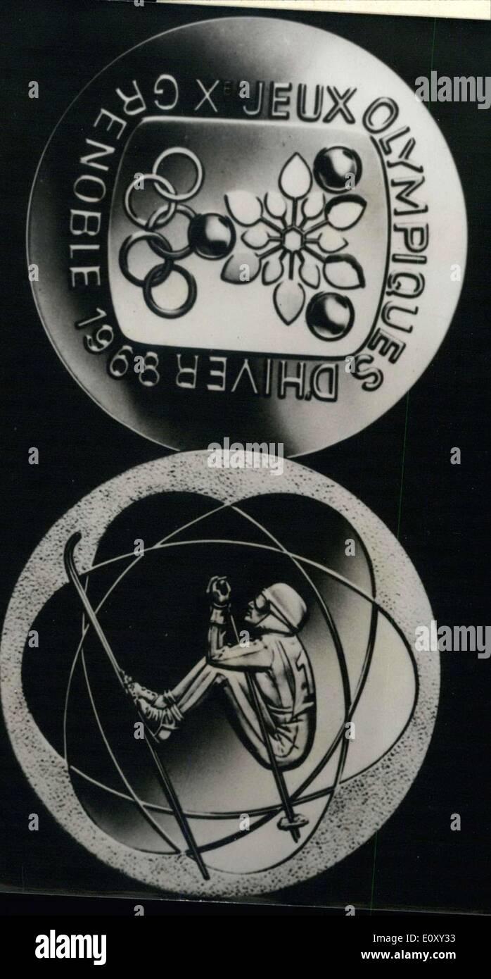 Jan. 17, 1968 - Commemorative Medal for Grenoble Winter Olympics - Stock Image