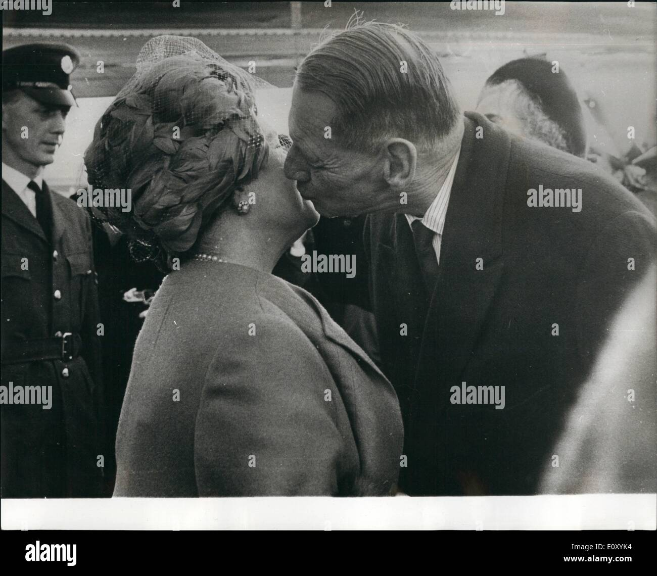 Feb. 02, 1968 - Queen Elizabeth the Queen mother arrives in Copenhagen to attend wedding of Princess Benedikte.: Queen Elizabeth the Queen Mother arrived in Copenhagen yesterday, to attend the wedding of Princess Benedikte and Prince Richard Zu Sayn-Wittgenstein-Berleburg, which takes place in Copenhagen tomorrow (Saturday). King Frederik and Queen Ingrid of Denmark were at the airport to greet her. Photo shows Queen Elizabeth the Queen mother seen being greeted by King Frederik of Denmark, on her arrival in Copenhagen yesterday. - Stock Image