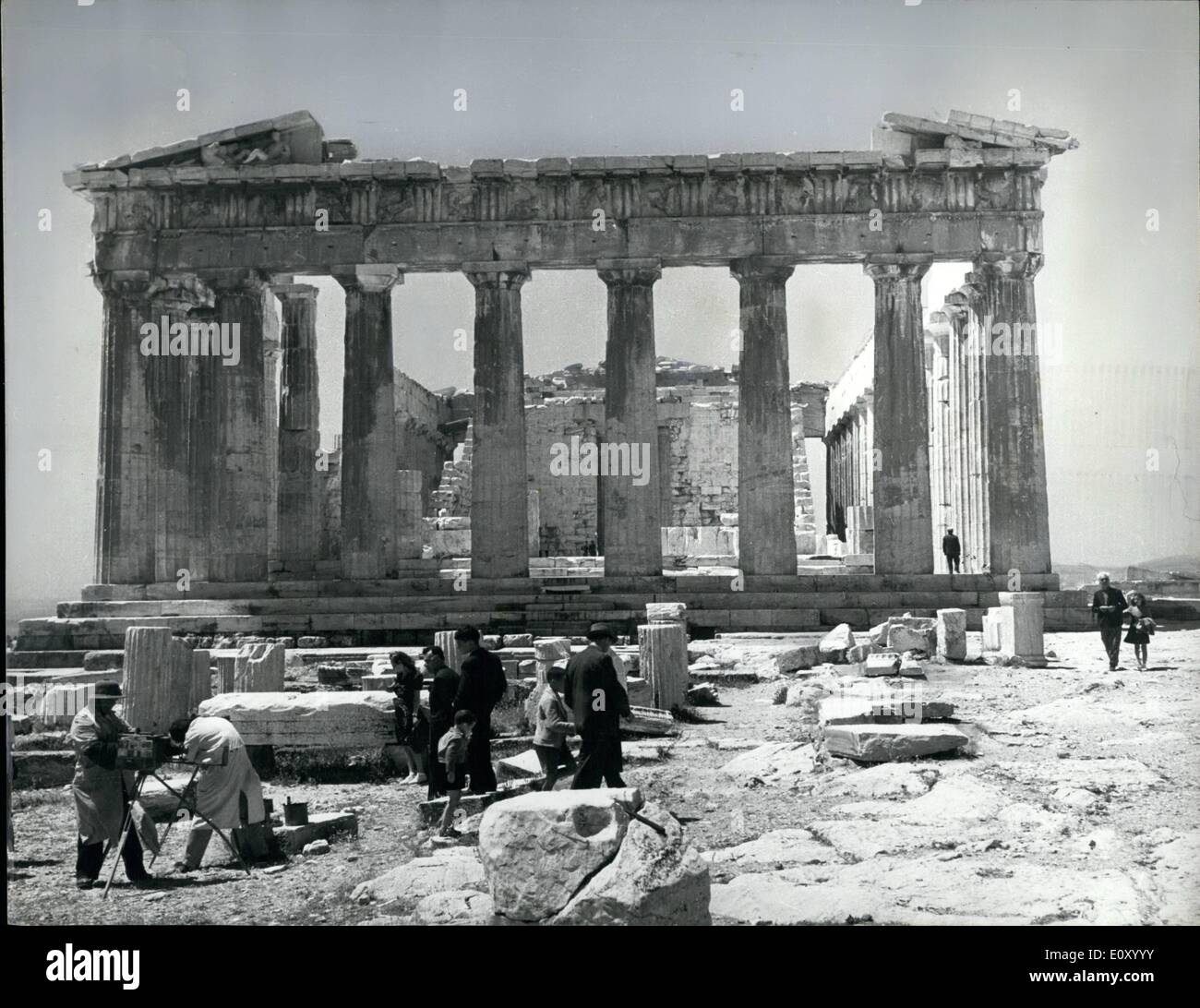 Feb. 02, 1968 - Parthenon columns in danger of Collapse.: Partly because of rusting steel supports, the marble columns of the Parthenon in Athens, are in danger of collapse. Before the First World War, whilst cruising in the Admiralty yacht Enchantress, Sir Winston Churchill was shocked to see the columns lying on the ground as they had been for years. He even considered sending for a party of bluejackets who,he thought, would soon have them upright. The Greek Government, not many years later, took the same view as Sir Winston. Now the columns are in danger of collapse again - Stock Image
