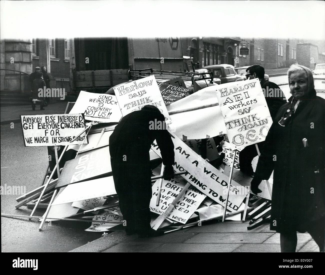 Feb. 02, 1968 - Workers in protest march .Five thousand angry men and women downed tools yesterday in protest over plans to shut their factory. the workers, from the associated electrical industries plant in woolwich, London then marched in a mile-long queue to a cinema where they met union chiefs. Mr. Christopher may new, M.p for east woolwich, who addressed the meeting, described the company's decision to close the factory as a ''bombsheli which has wrecked the entire area's employment situation - Stock Image