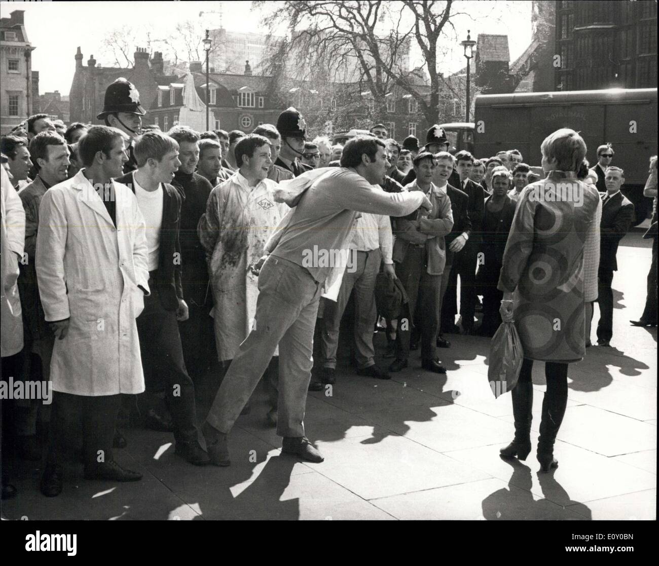 Apr. 24, 1968 - Smithfield Porters March To Westminster: About four hundred porters from Smithfield mat market today marched to - Stock Image