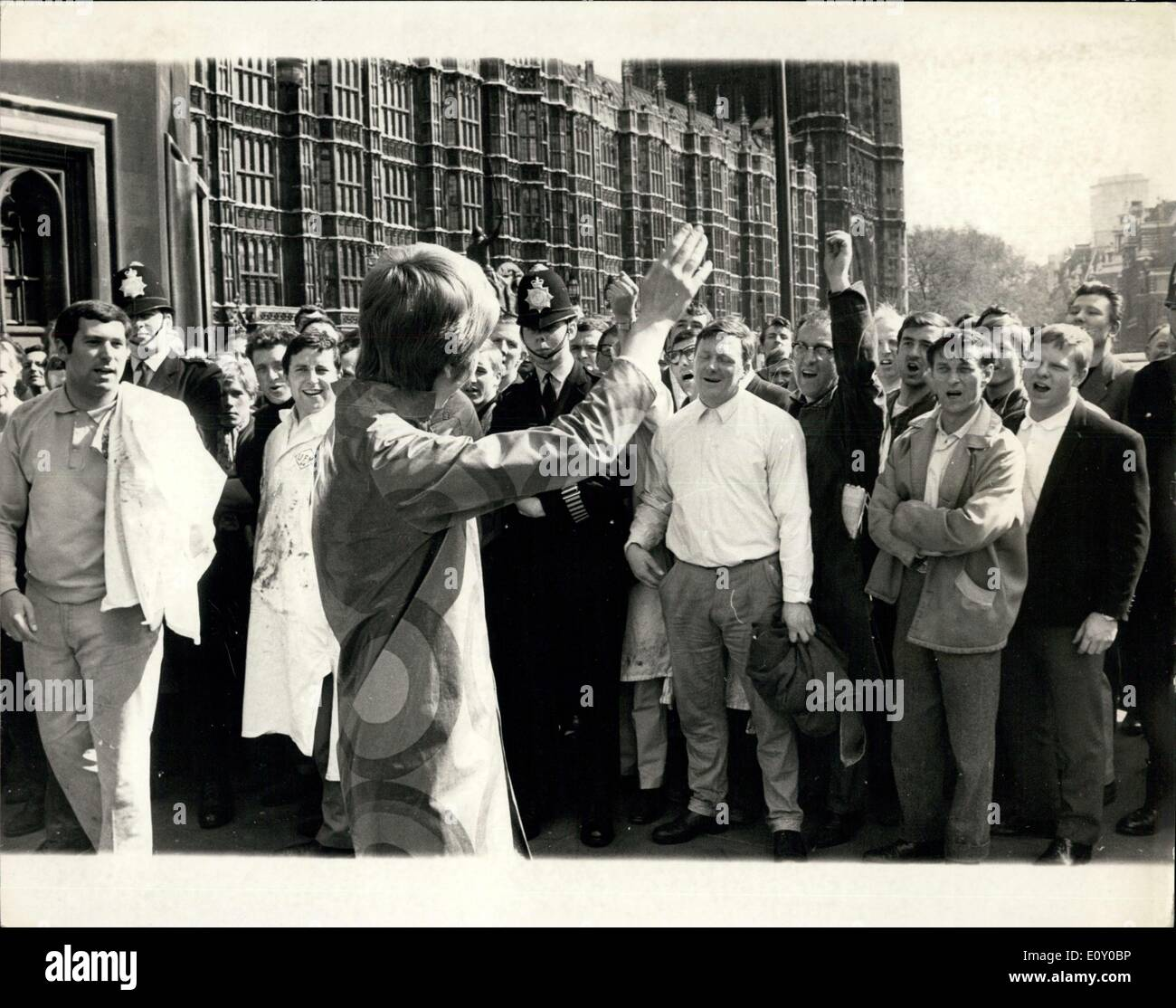Apr. 24, 1968 - Smith-field Porters March to Westminster: About four Hundred porters from Smithfield meat market, today marched - Stock Image