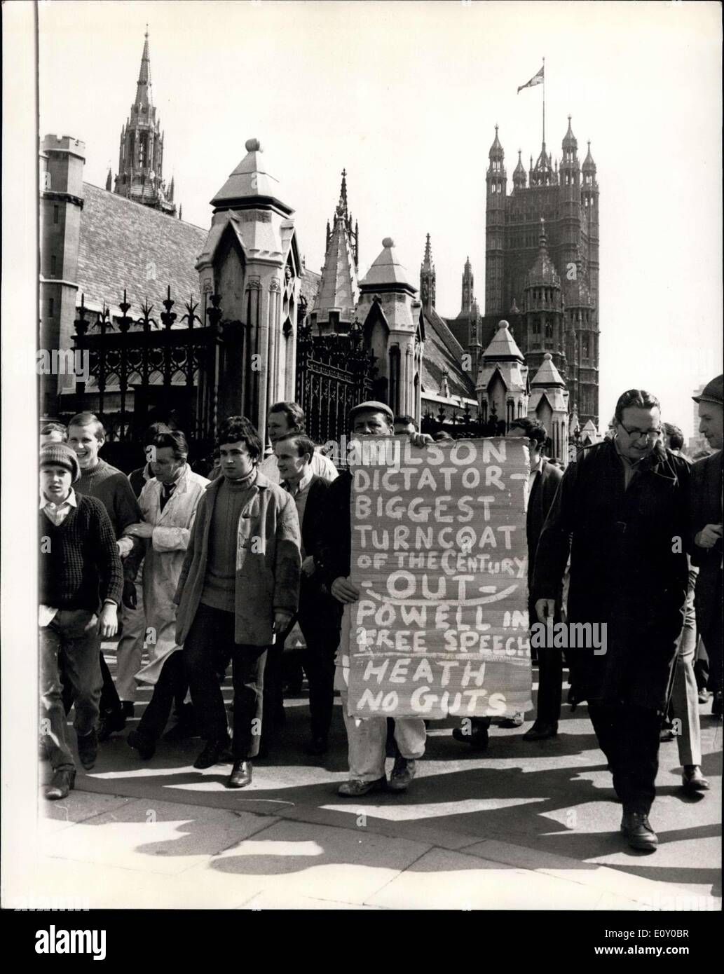 Apr. 24, 1968 - Smithefirld Porters March To Westminster: About four hundred porters from Smithfield most market, today marched - Stock Image
